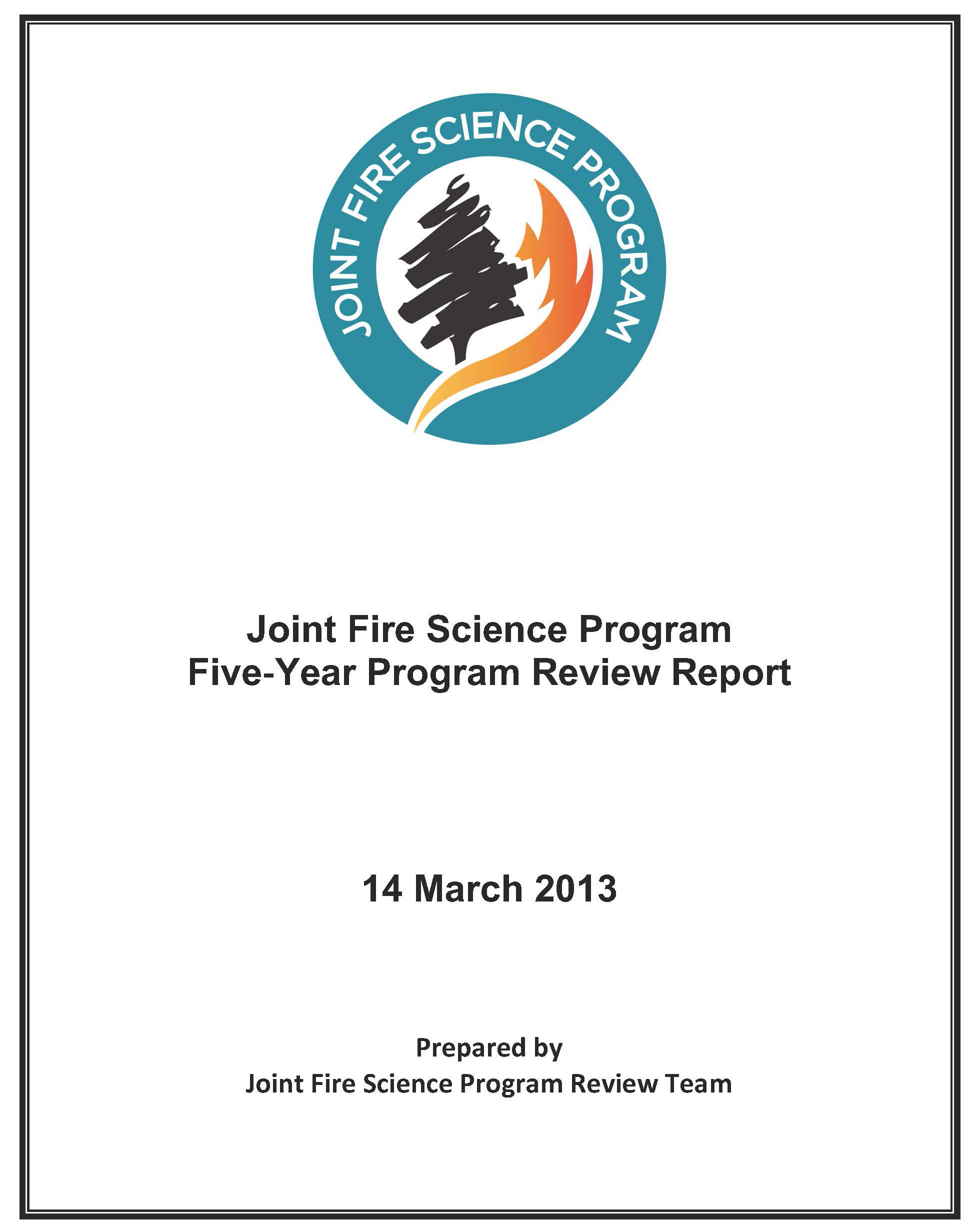 Image of the JFSP Report Cover